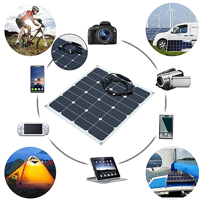 50W 12V Flexible Sunpower Solar Panel Battery Charger For RV Marine Boats  Roof !