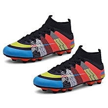 UL High Ankle Soccer Shoes Wear-resisting Sports For Football Trainers Black&red