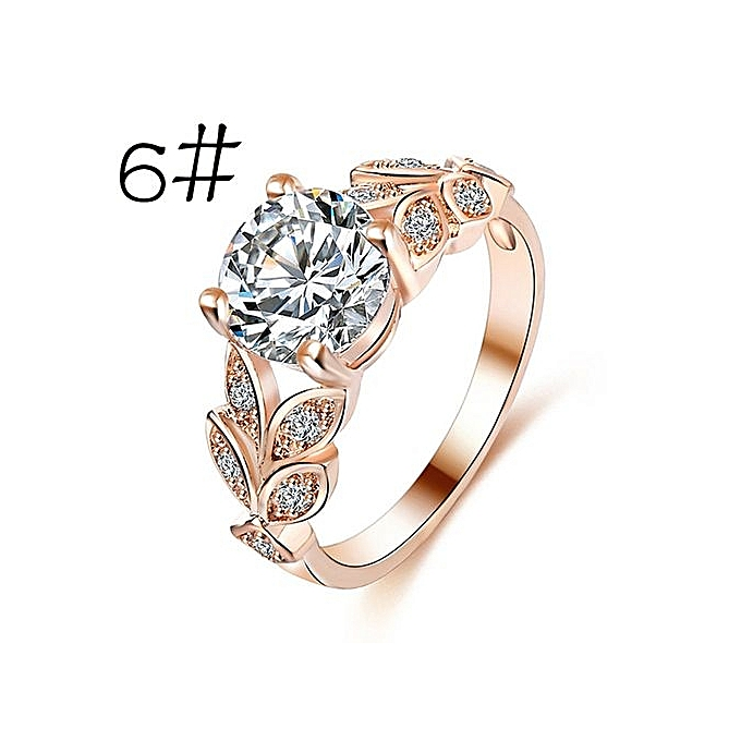 Cheap Rose Gold Wedding Rings | Buy Generic Flower Crystal Wedding Ring For Women Jewelry