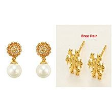 Gold Coated Pearl Earrings +1 Free Pair Gold Coated Ear Studs