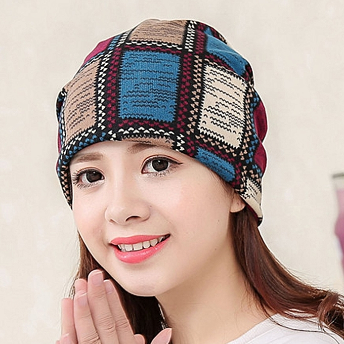 Women Cotton Ethnic Plaid Beanie Hat Vintage Good Elastic Warm Winter  Turban Scarf Caps 653e59404ca