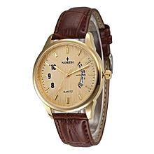 Olivaren NORTH Mens Genuine Leather Band Analog Quartz Calendar Wrist Watch Watches GD Gold
