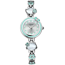 Exquisite Silver and Green Flower Decorated Round Dial Watch - Silver