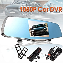 5'' Full HD 1080P Car DVR Rearview Mirror Dual Lens Dash Cam Camera Recorder