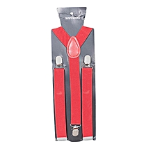 Red Men's Adjustable Suspenders With Silver Clip