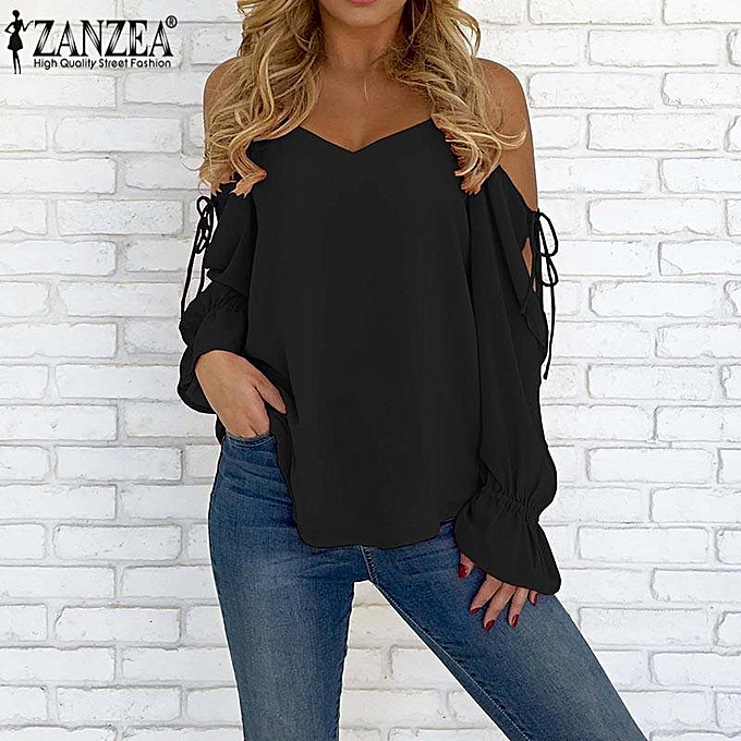 d4388d1e2497e2 ZANZEA Women V Neck Strappy Cold Shoulder Long Sleeve Lace Up Tops Shirt  Blouse
