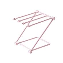 Folding Towel Stand Rack Washing Cloth Draining Shelf Kitchen Organizer light pink