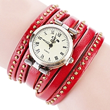 guoaivo CCQ Brand Vintage Leather Bracelet Watch Men Women Wristwatch Quartz  -Red