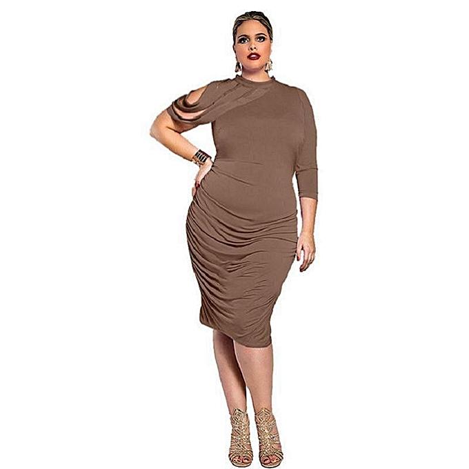 Women Plus Size midi bodycon Dress turleneck one Three Quarter Sleeves High  Waist wrap Party Dress-coffee