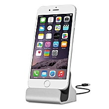 Charger Dock Stand Micro USB Desktop Stand Station Cradle  For IPhone X 8 7 5 SE 6 6S Plus Silver