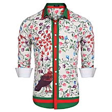 Men Casual Long Sleeve Printing Button Down Shirts-Pink