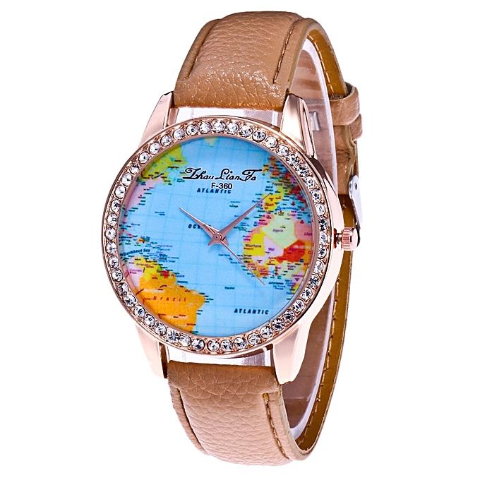 Buy fashion women world map quartz leather analog wrist watch round women world map quartz leather analog wrist watch round case watch khaki gumiabroncs Gallery