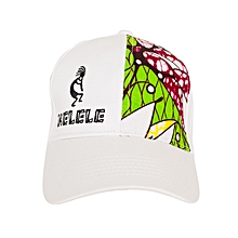 White And Green Baseball / Sports Hat With Kelele Color On Panel
