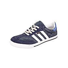 Navy Blue Striped Sneakers
