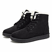 8a1525bcd New Women Faux Fur Lining Round Toe Winter Warm Flat Ankle Snow Boot Ski  Shoes Black