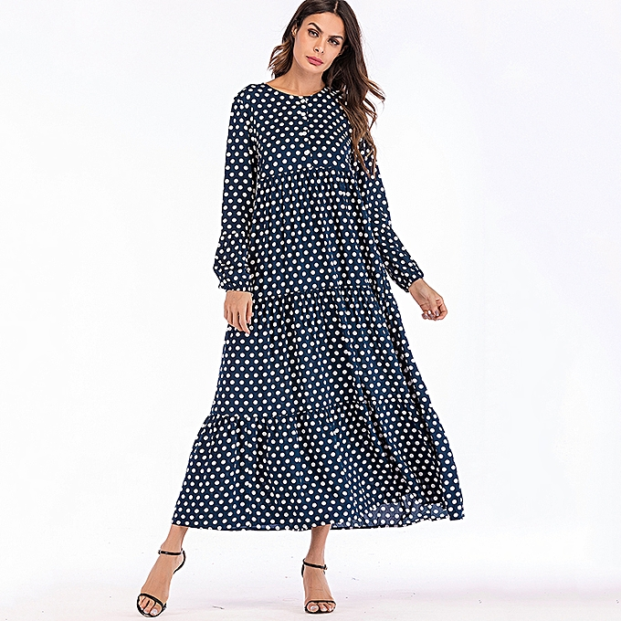 4e6fd143b4 Women Dress Polka Dot Print Buttons Ruffle Long Sleeve Loose Maxi Gown  Beach Vintage Boho One