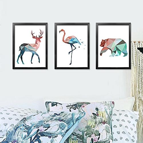Generic Qukau 3pcs 40 60cm Wall Painting Picture Mural Animal