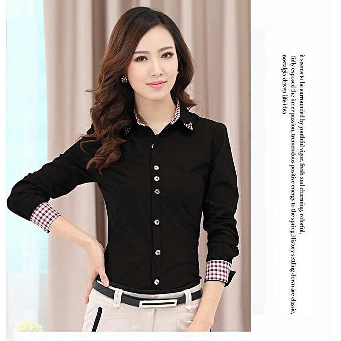 844010229c37 New Slim Professional Shirt Women s Long Sleeve Large Size Shirt-black