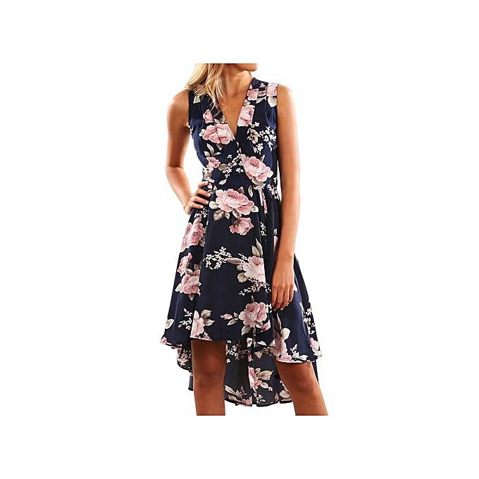 67697209736d RanickenWomen Summer Off Shoulder Floral Short Mini Dress Ladies Beach  Party Dresses XL -Dark Blue