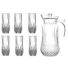 Tableware Serving Crystal Juice/Water Glasses Jug Set - 7pcs