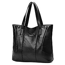 Women's Genuine Sheep Nappa Vintage Handbag-Black - b - One size
