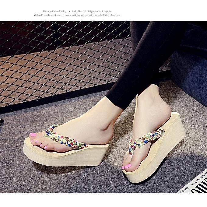 f8cd9b249de Womens Summer Sandals Ladies Wedge Platform Flip Flops Slippers Boho Beach  Shoes