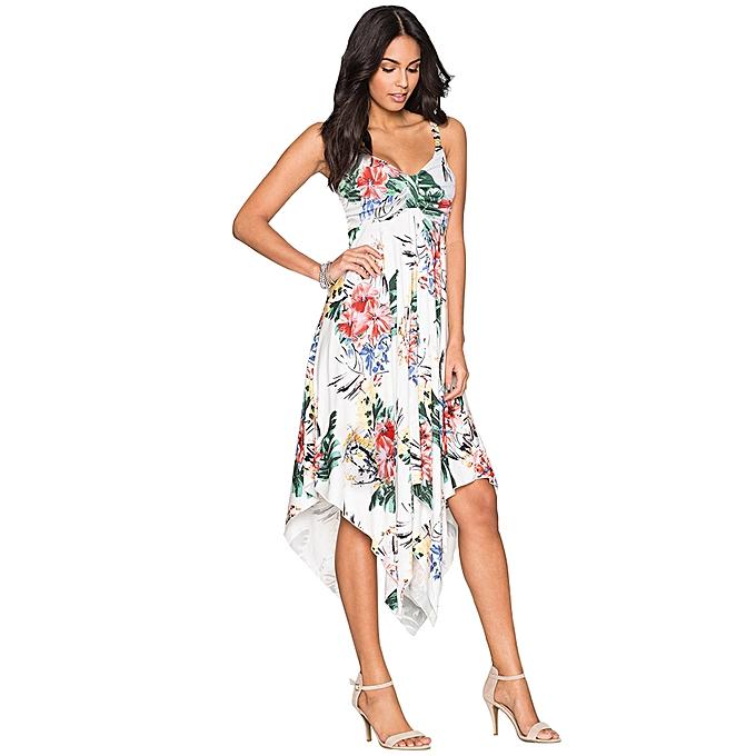 b5b581d9671f19 Women Printed Dress Sleeveless Asymmetrical Hem Ruched Front V-Neck High  Waist A-Line