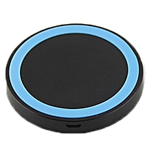 Qi Wireless Power Charger Mini Charge Pad For Samsung Galaxy S3 S4 S5 Note 2 (Black + Blue Round Pad)