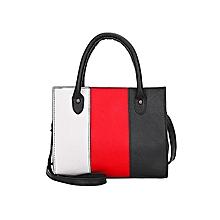 singedanWoman Tote Casual Bags Crossbody Bag Hit color Leather Handbag  Shoulder Bag -Red a7c49bae061c6
