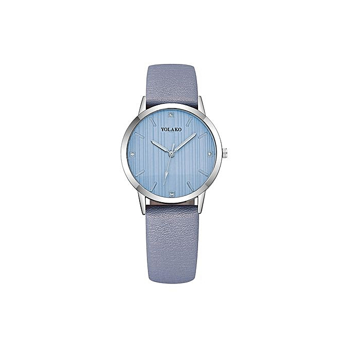 1b61cd0cf Meibaol Store Simple Fashion Ladies Leather Strap Watch Rhinestone Dial  Solid Color Strap-light Blue