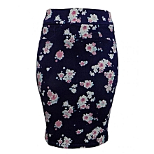 Navy Blue Floral Print Pencil Skirt