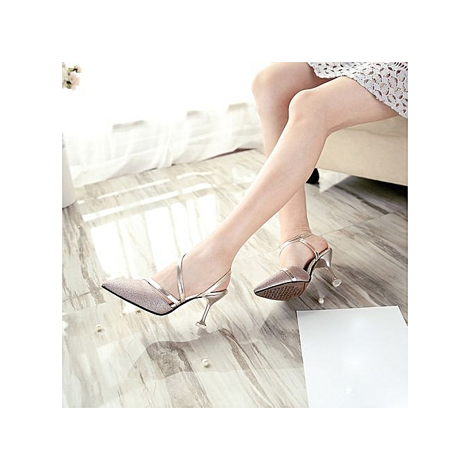 14fa176c70 LightningWomen's Sexy Thin Shallow Sandals Sequins T-Strap Pointed Toe High  Heels Shoes -Rose Gold