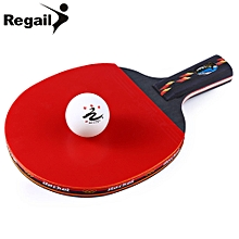 D003 Table Tennis Ping Pong Racket One Short H+le Paddle With Ball - Red + Black