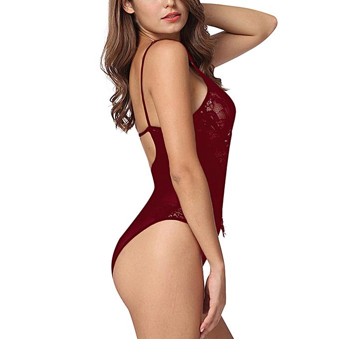 a506eabe7b77 ... Sexy Women Lingerie Jumpsuit Sheer Lace Mesh Bra Thongs Erotic  Sleepwear Rompers Underwear Black White ...