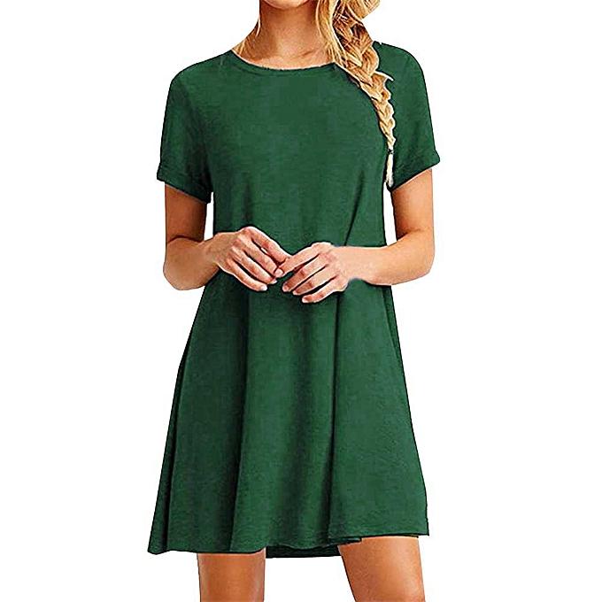 0bb8fc001cf5 paidndh store Women Loose Casual O-neck Short Sleeves Ruffles Mini Dress - Green