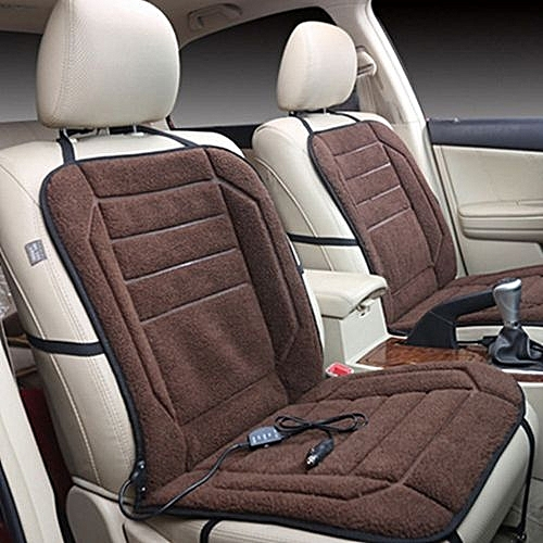 Car Seat Cover Heated Cushion Quick Plush Gray Brown Heater Interior Electric Heating