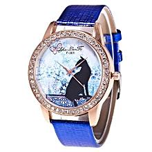 Lady  Leather Wrist Watch Zhoulianfa Lovers Watch Quartz Dial Diamond Leather Analog Wrist Watch Round Case Watch- Blue
