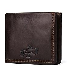 Men's wallet leather clutch Korean fashion zip coin purse-black