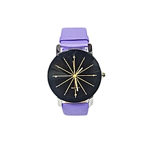 Ladies Quartz Leather Wrist Watch -Purple