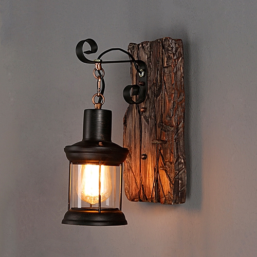 Generic Vintage Retro Wood Sconce Cafe Wall Lamp Fixture Loft Light