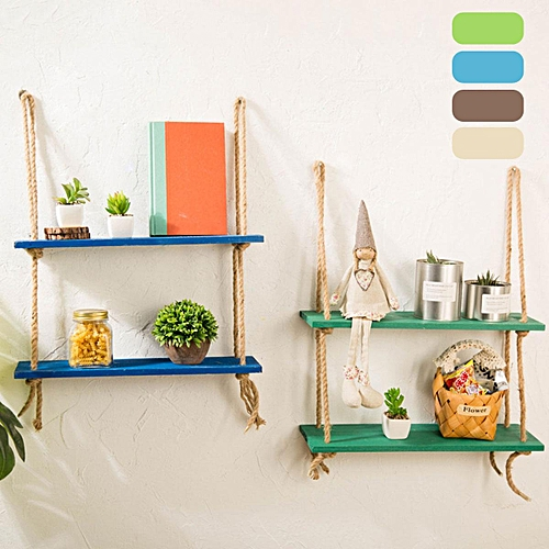 Generic Hanging Wall Shelf Storage Wood Rope Swing Shelves Plant