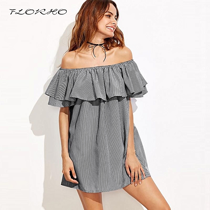 2cf5c1f7f34664 FLORHO Women Elegant Cute Off Shoulder Flounce Trim Shirt Dress Summer  Casual Party Dresses Stripe Short