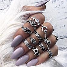 Olivaren 11pcs/Set Women Bohemian Vintage Silver Stack Rings Above Knuckle Blue Rings Set -Silver