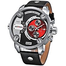 Watches, 3301 Fashion Casual Watches Men Luxury Brand Quartz Genuine Leather Strap Watch - Black