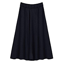 CELMIA Women Casual Loose Skirts 2017 Summer Fashion Drawstring Elastic Waist Long Skirt Ladies Solid Pleated Pockets Skirts Black