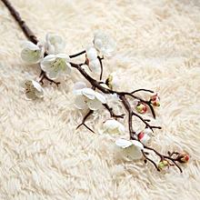 Artificial Silk Fake Flowers Plum Blossom Floral Wedding Bouquet Party Decor-white