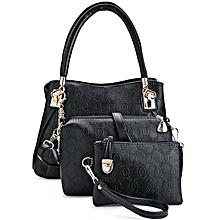 3pcs PU Leather Handbag Set Black
