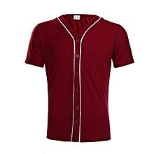 Men's Button Down Striped T-shirt (Maroon)