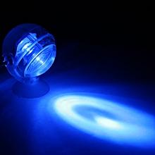 Aquarium Waterproof LED Spotlight Submersible Light Convex Lens Design with Suction Cup Fish Tank Decorative Light Blue
