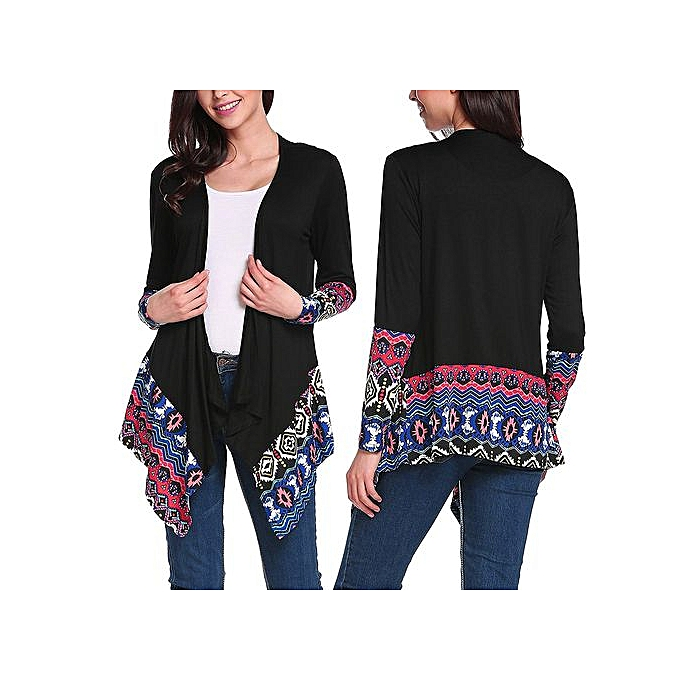 f9e56e17 Hiaojbk Store Outwear Women Long Sleeve Cardigan Print Loose Sweater Jacket  Sweater L-Black